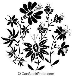 人々, パターン, 黒, 花, 円