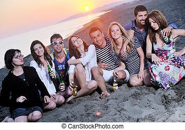 人々, パーティー, 浜, 夏, グループ, 楽しみなさい, 若い