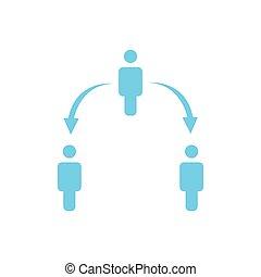 。, 人々, ビジネス, レベル, 階層, concept., 矢, 隔離された, イラスト, 2, 下方に, バックグラウンド。, ベクトル, 3, レポート, アイコン, 白, 会社, 構造