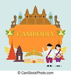 人々, フレーム, カンボジア, ランドマーク, 伝統的な衣類
