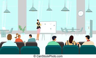 人々, ベクトル, セミナー, チームのミーティング, プレゼンテーション, 会議, マネージャー, ビジネス 実例, 講義