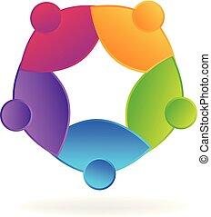 人々, ベクトル, チームワーク, 社会, ロゴ, アイコン
