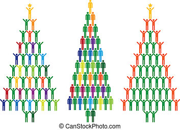 人々, ベクトル, 木, クリスマス