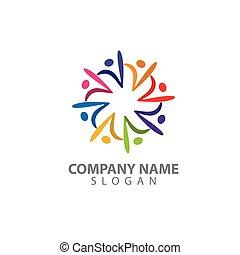 人々, ベクトル, 特徴, 抽象的, ロゴ, 人, 数字, logo., 人間, カラフルである, 概念, illustration.