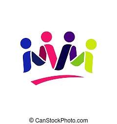 人々, ベクトル, 4, 抽象的, ロゴ, テンプレート, 4, design.
