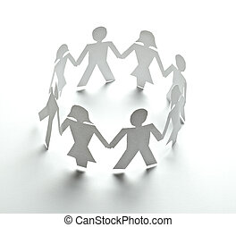 人々, ペーパー, 切抜き, 接続, 共同体
