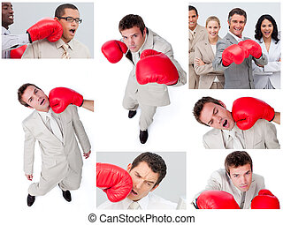 人々, ボクシング, コラージュ, ビジネス