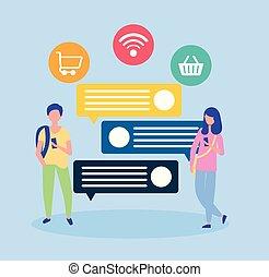 人々, マーケティング, 媒体, アイコン, 社会, 線