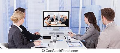 人々, ミーティング, グループ, ビジネス, ビデオ会議, テーブル