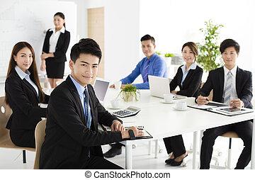 人々, ミーティング, グループ, 幸せ, ビジネス, 若い