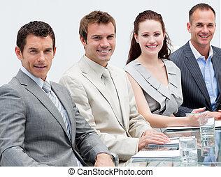 人々, ミーティング, ビジネス, 微笑, クローズアップ, モデル