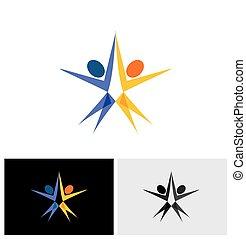 人々, ヨガ, -, ダンス, スポーツ, ベクトル, ロゴ, エアロビクス, アイコン