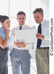 人々, ラップトップ, ビジネス, 使うこと, 3