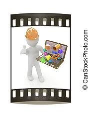 人々, ラップトップ, -, capabilities, プレゼント, ストリップ, 小さい, エンジニア, フィルム, 3d