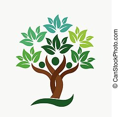 人々, ロゴ, 木, 家族, leafs, 緑
