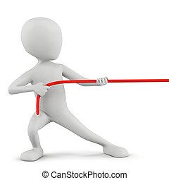 人々, -, ロープ, 小さい, 3d, pulling.