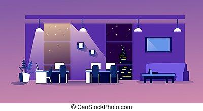人々, ワークスペース, 横, 夜, 現代, オフィスを空にしなさい, co-working, 内部, スケッチ, 家具, いいえ, キャビネット, 中心, 創造的