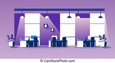 人々, ワークスペース, 横, 現代, オフィスを空にしなさい, co-working, 内部, スケッチ, 家具, いいえ, キャビネット, 中心, 創造的