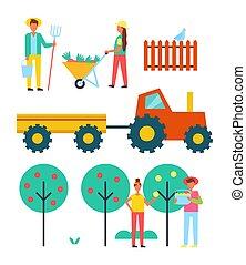 人々, 上に働く, 農場, ∥で∥, 装置, ベクトル, アイコン