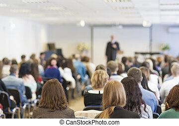 人々, 上に, ∥, 会議, 聞くこと, へ, ∥, lecturer., ビューを支持しなさい