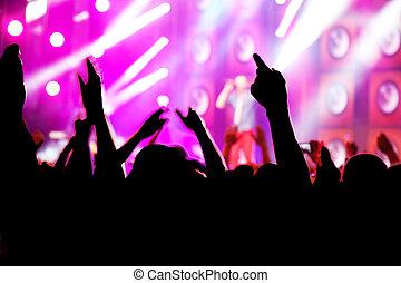 人々, 上に, 音楽コンサート, ディスコ, パーティー。