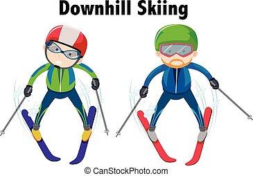 人々, 下り坂に, 2, スキー