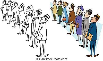 人々, 並んで立つ