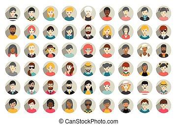 人々, 人, 国籍, セット, mega, 頭, 別, vector., 円, style., 平ら, avatars