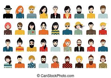 人々, 人, 国籍, セット, mega, 頭, 別, vector., style., 平ら, avatars