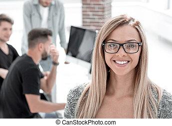 人々, 仕事, オフィス。, girl., ビジネス, 現代, 肖像画