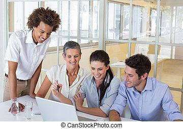 人々, 仕事, ラップトップ, ビジネス