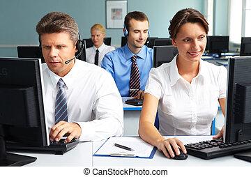 人々, 仕事, 中に, オフィス