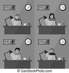 人々, 仕事, 中に, ∥, オフィス。, セット, の, ベクトル, illustrations.