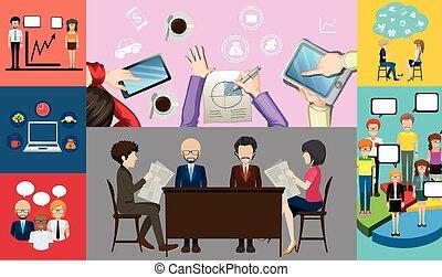 人々, 仕事, infographic, ビジネス, デザイン
