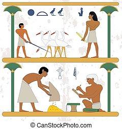 人々, 仕事, scene., ciconia, エジプト, 古代, nobleman, 小作農, grane, 歴史的, バックグラウンド。, 筆記者, farmind, compostion.