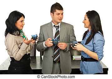 人々, 会話, 中に, コーヒーブレイク