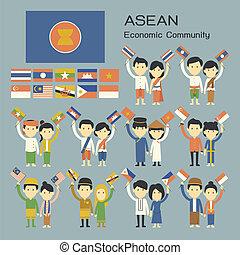 人々, 伝統的である, asean, 衣装, 旗