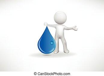 人々, 低下, 水, 小さい, ロゴ, 3d
