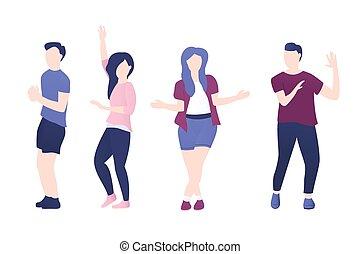人々, 偶然, 幸せ, 衣服, 若い