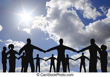人々, 円, グループ, 上に, 雲, 日当たりが良い, 空