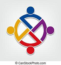 人々, 円, チームワーク, icon., 握手, ロゴ, ベクトル, グループ, イラストレーター