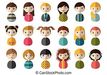 人々, 円, 頭, avatars, 人, style., セット, 別, 平ら, 国籍