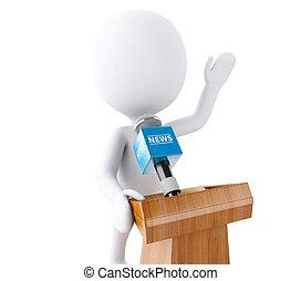 人々, 出版物, 白, conference., 話すこと, 3d