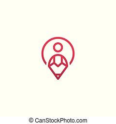 人々, 創造的, community., ベクトル, テンプレート, ロゴ