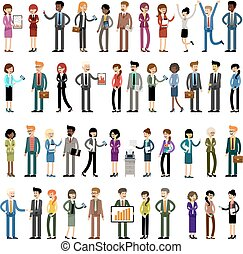 人々, 労働者, セット, オフィス, ビジネス