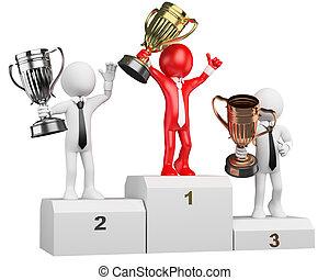 人々。, 勝者, 演壇, ビジネスマン, 白, 3d