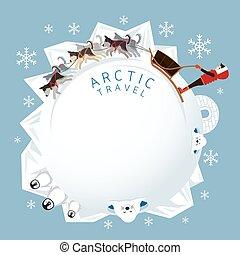 人々, 北極である, sledding, ラウンド, フレーム, 犬