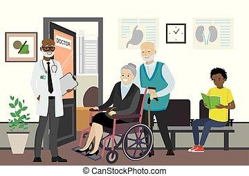 人々, 医者, アメリカ人, 待つこと, オフィス, アフリカ