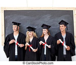 人々, 卒業, グループ, 後で, 祝う