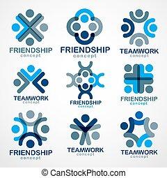 人々, 単純である, 青, 合併した, アイコン, designs., set., クルーチーム, 統一,...